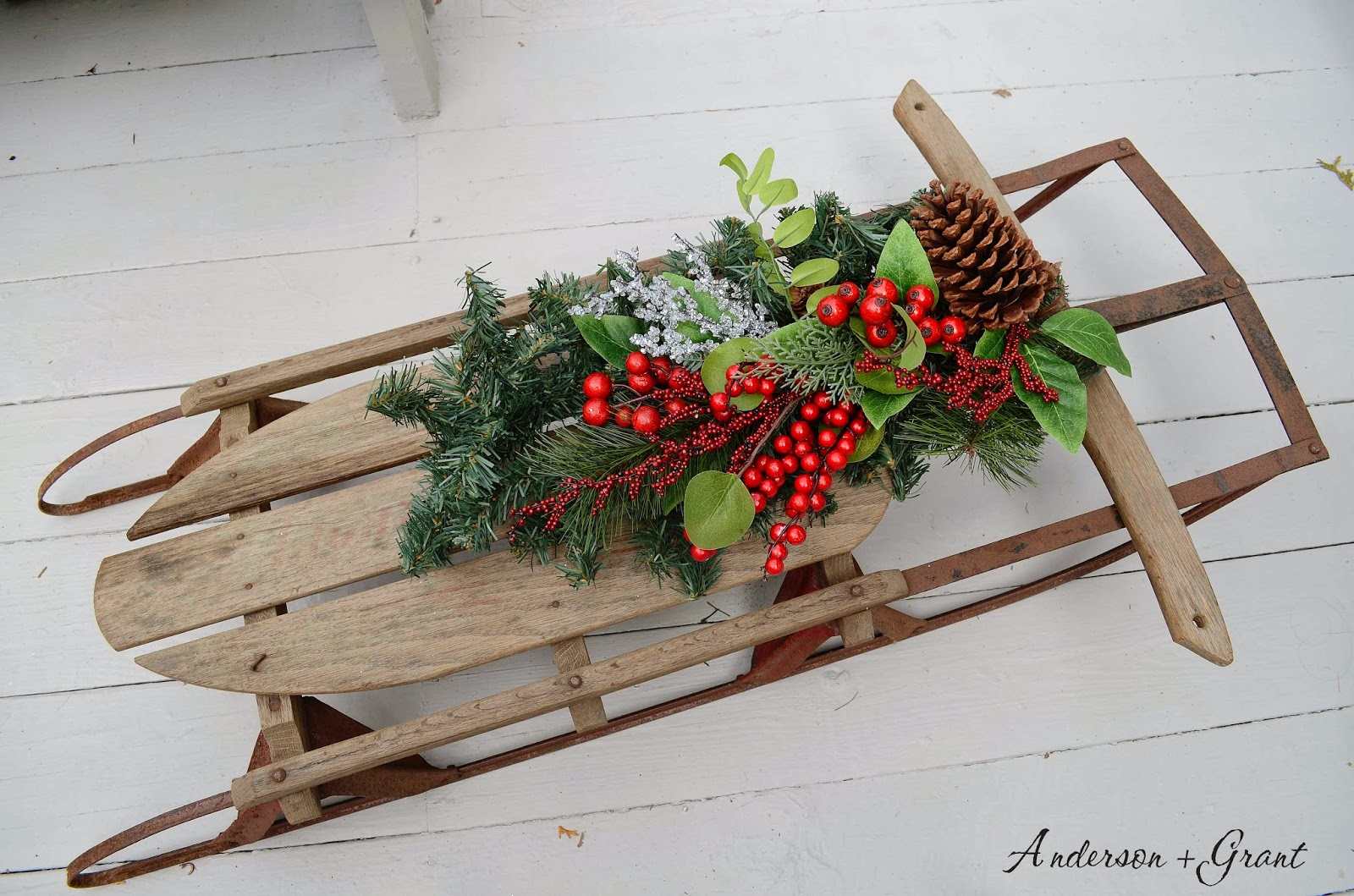 Decorating a vintage sled for christmas anderson grant solutioingenieria Choice Image