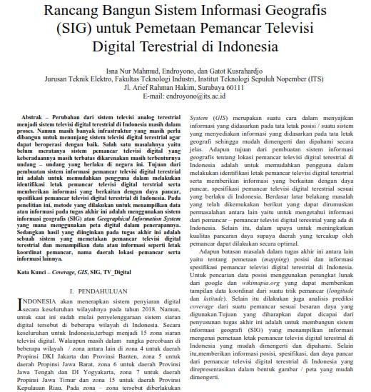 Rancang Bangun Sistem Informasi Geografis (SIG) Pemetaan Pemancar Televisi [Paper]