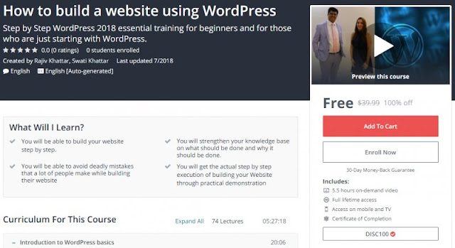 [100% Off] How to build a website using WordPress| Worth 39,99$