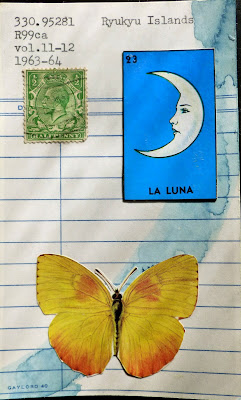 British king George postage stamp mexican lottery card la luna moon butterfly library card Ryukyu Islands Dada Fluxus mail art collage