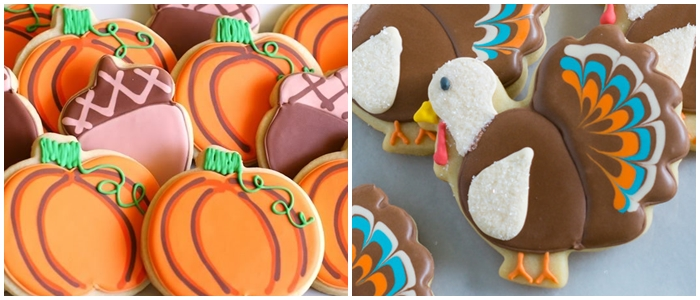 Bake at 350 decorated cookie index: Thanksgiving cookies