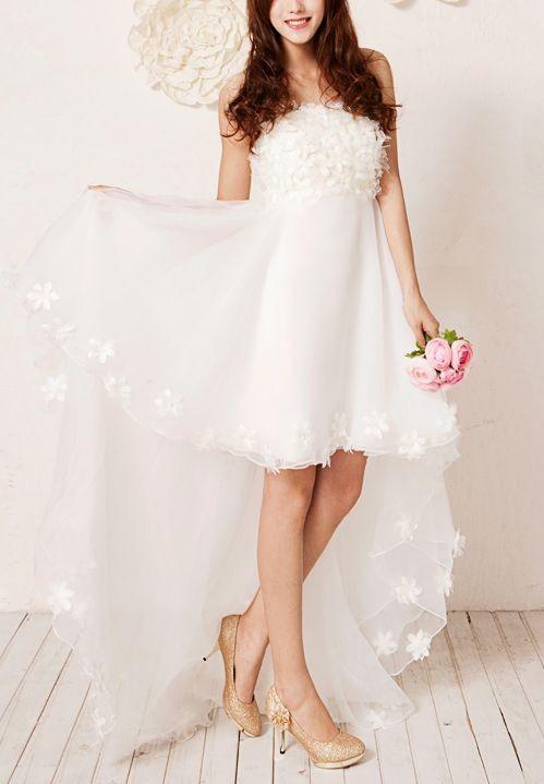 Simple High Low Wedding Dress