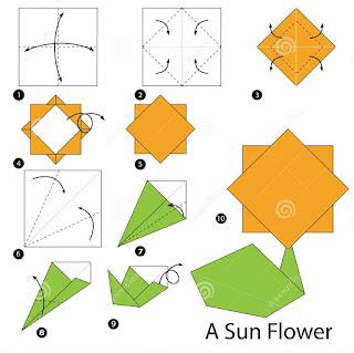 cara membuat bunga matahari dari kertas origami