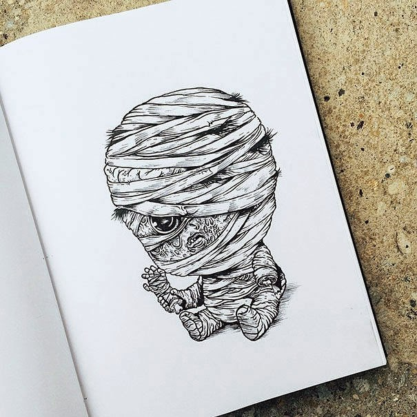 16-Mummy-Alex-Solis-Baby-Terrors-Drawings-Horror-Movie-Villains-www-designstack-co