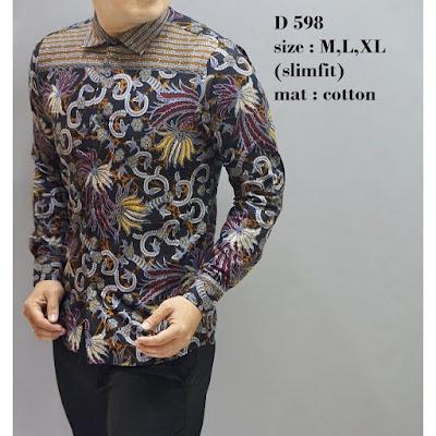 batik pria lengan panjang slim fit