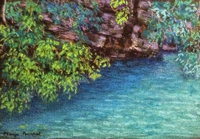 Soft pastel painting of a beautiful beach at Langkawi by Manju Panchal