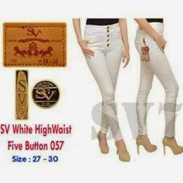 Celana Jeans Wanita, Celana Jeans Putih, Celana Kancing,
