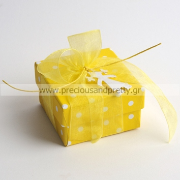 Baptism favors for girl yellow polka dots boxes B36