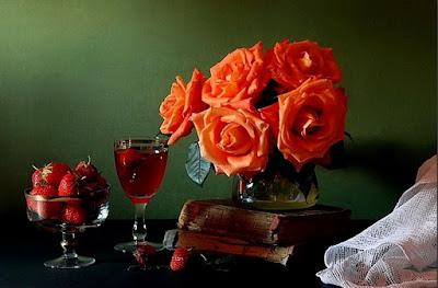 cuadros-de-oleo-flores-color-rojo