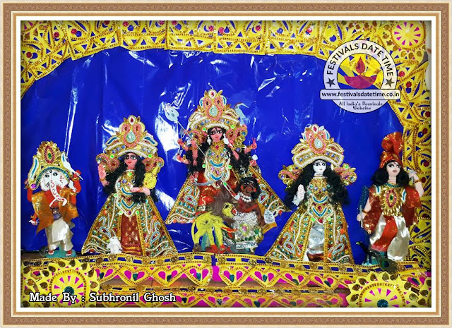 Hand Made Durga Murti and Pandal Design by Subhronil Ghosh at Kolkata