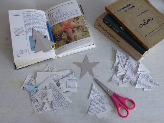 Weihnachten DIY basteln nähen Papier Sterne Tannen Weihnachtsbäume 3D alte Bücher Geschenkanhänger Deko Aufhänger