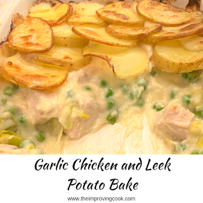 Garlic Chicken and Leek Potato Bake with a portion taken out and text overlay