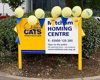 Mitcham Homing Centre sign with balloons