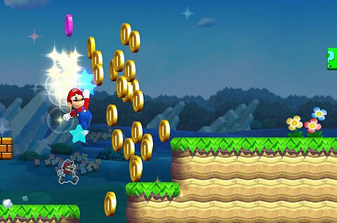 Picture of Super Mario Run, with Mario jumping to collect some gold coins around grass platforms.