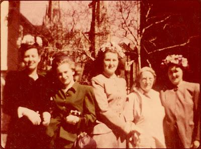 Estelle Karvoius, Mary Dixon, Tess (Karvoius) Starzyinski, Alice (Rimkus) Karvoius, Sophie (Karvoius) Dixon. Probably Easter. Elizabeth, NJ. Late 1940's - early 1950's?