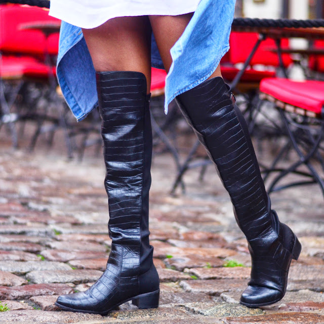 Mock croc knee high boots, I am nrc, iamnrc