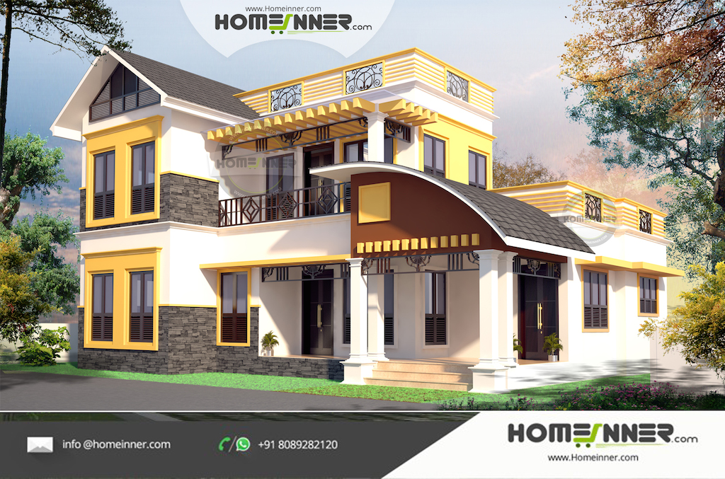 1905 sqft 4Bhk Attractive Kerala Home Design with a Office Space