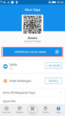 cara verifkasi akun di aplikasi dana android