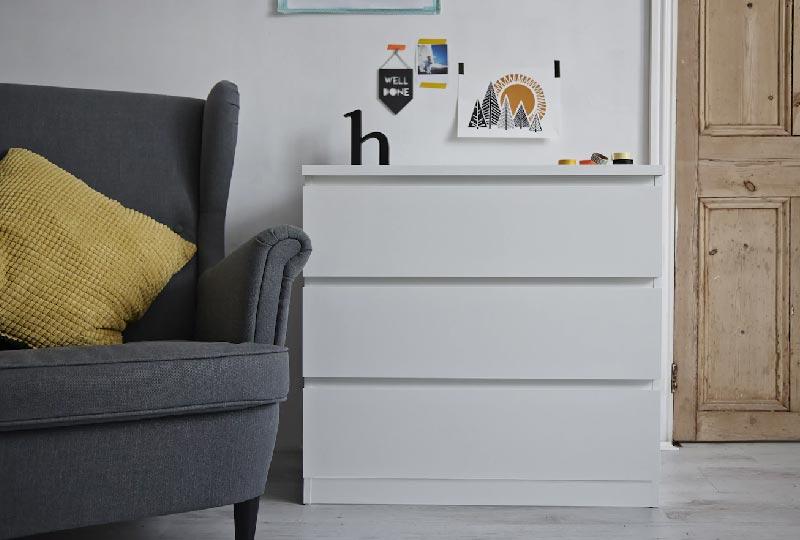 cassettiera MALM bianca IKEA