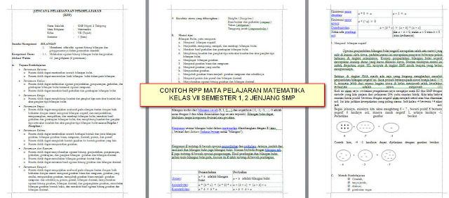 contoh RPP Matematika Jenjang SMP/MTS Semester 1, 2