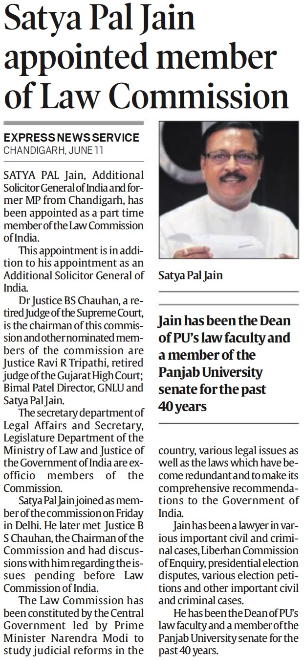 Satya Pal Jain appointed member of Law Commission