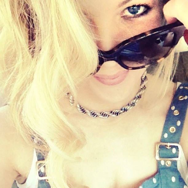 blue eyes over sunglasses