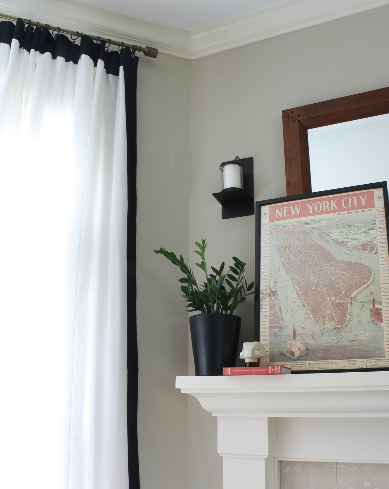 White Curtains With Black Trim DIY NYC Poster