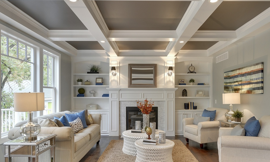 Option Five: Stained Wood Surrounding Recessed Lighted Shelves, In A  Contemporary Style.