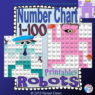 Number Chart Robots 1 - 100 Renee Dawn