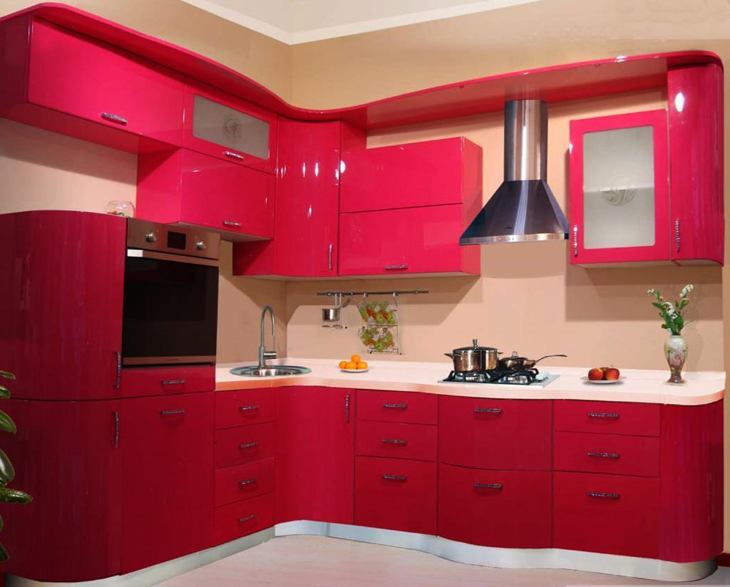 Charming pink theme living room bedroom and kitchen Bedroom with kitchen design