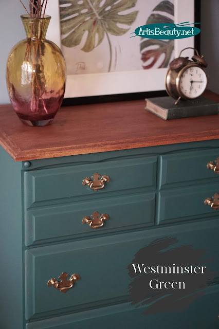 Outdated Dresser Makeover Using General Finishes New Color Westminster Green and Mahogany Gel stain DIY  artisbeauty.net before and after