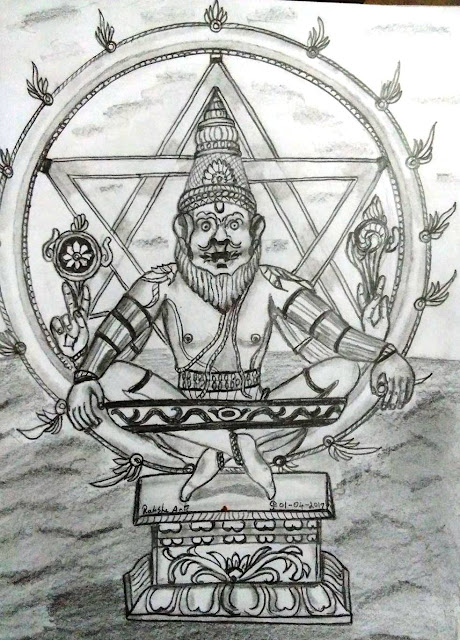 PENCIL DRAWING - SRI YOGA NARASIMHAR