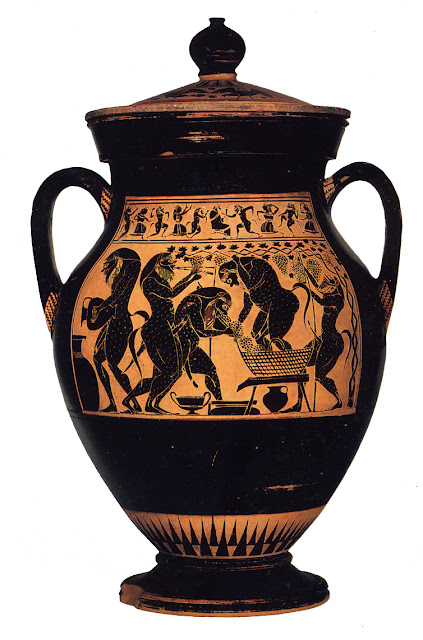 Amphora depicting Satyrs making wine by Amasis (circa 550-510 BCE)