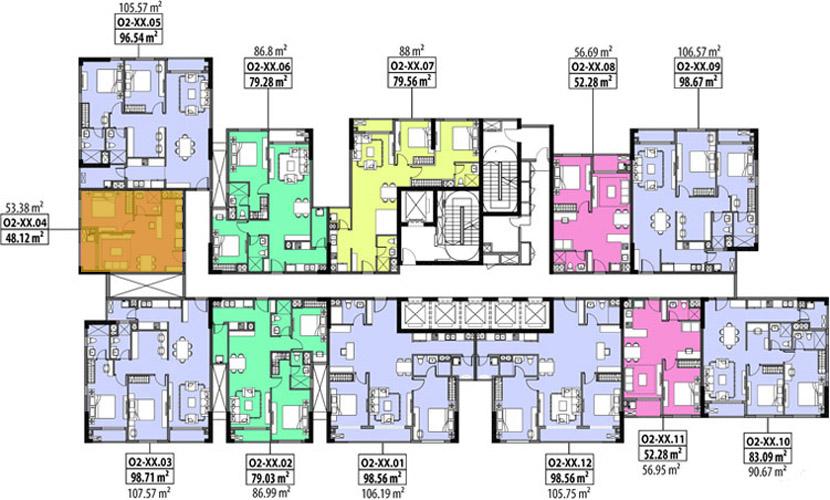 Vị trí căn hộ 48m2 cần bán tại Hado
