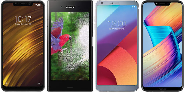 Pocophone F1 vs Sony Xperia XZ1 vs LG G6 vs Honor Play