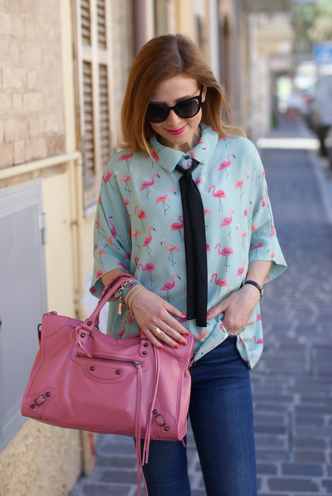 Flamingo print shirt with a bow tie on Fashion and Cookies fashion blog, fashion blogger style