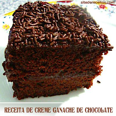 Receita de creme ganache de chocolate