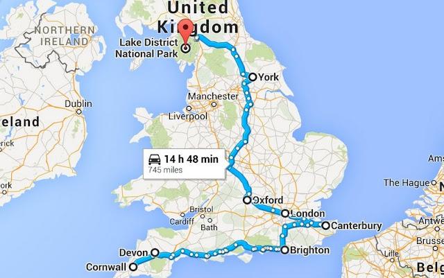 Mapa Viagem de Carro Alugado pela Inglaterra
