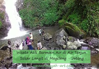 Wisata Asik Bermain Air di Air Terjun Sekar Langit di Magelang Jawa Tengah