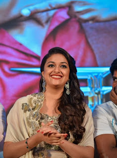 Keerthy Suresh in white Dress with Cute Smile in Saamy Square Audio Launch 7