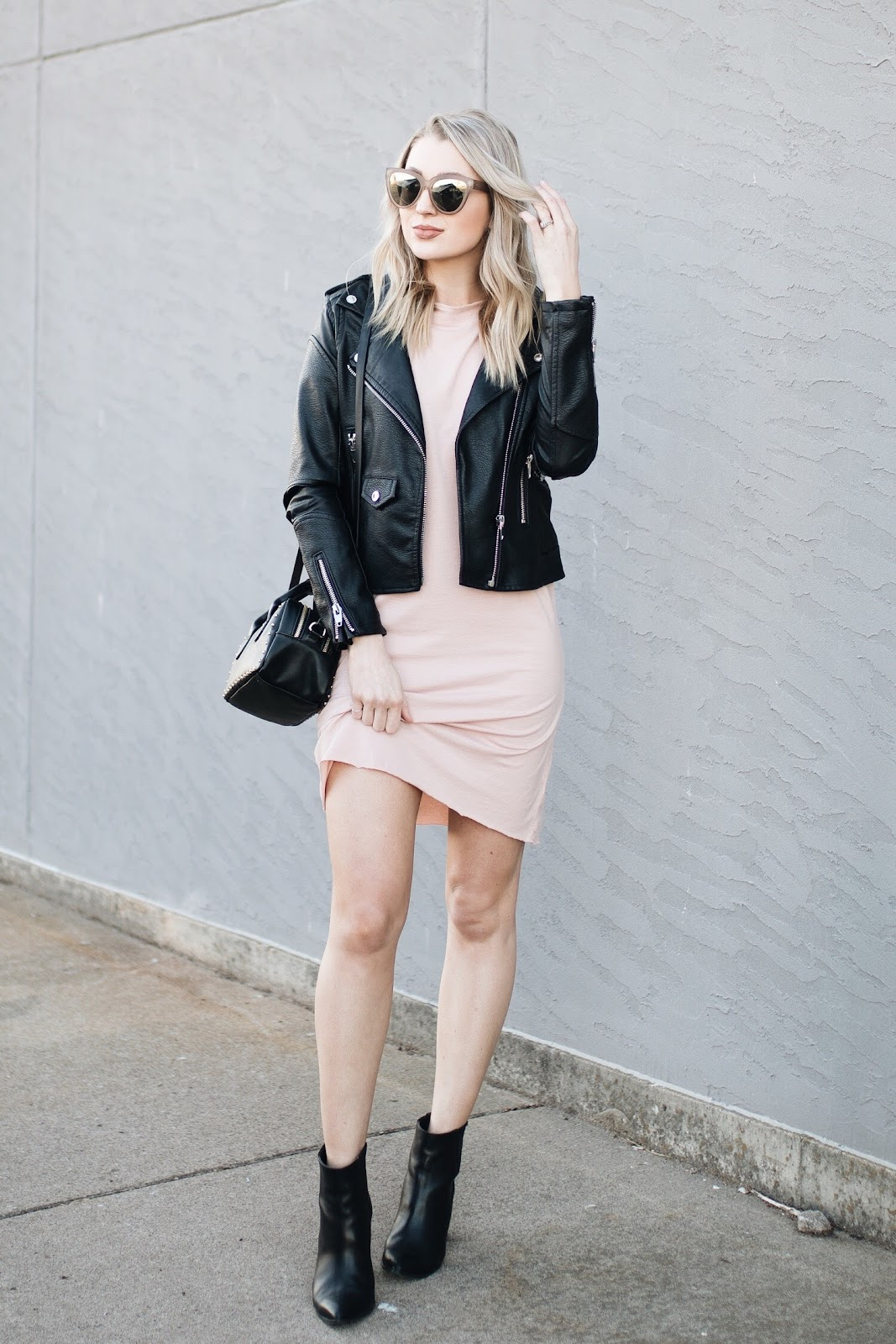 T-shirt dress with a leather jacket