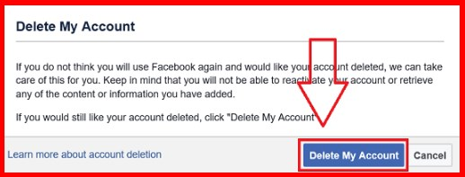 steps to delete facebook account permanently