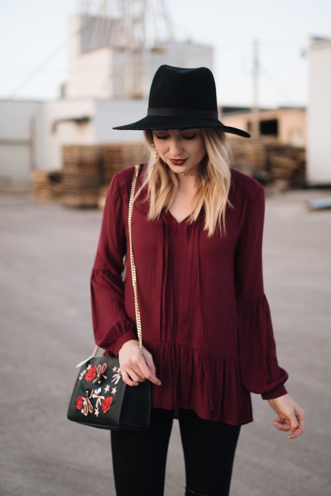 burgundy tunic