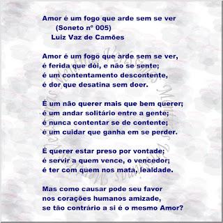 Ilustração mostrando o soneto número 5 de Luiz Vaz de Camões: Amor é um fogo que arde sem se ver.