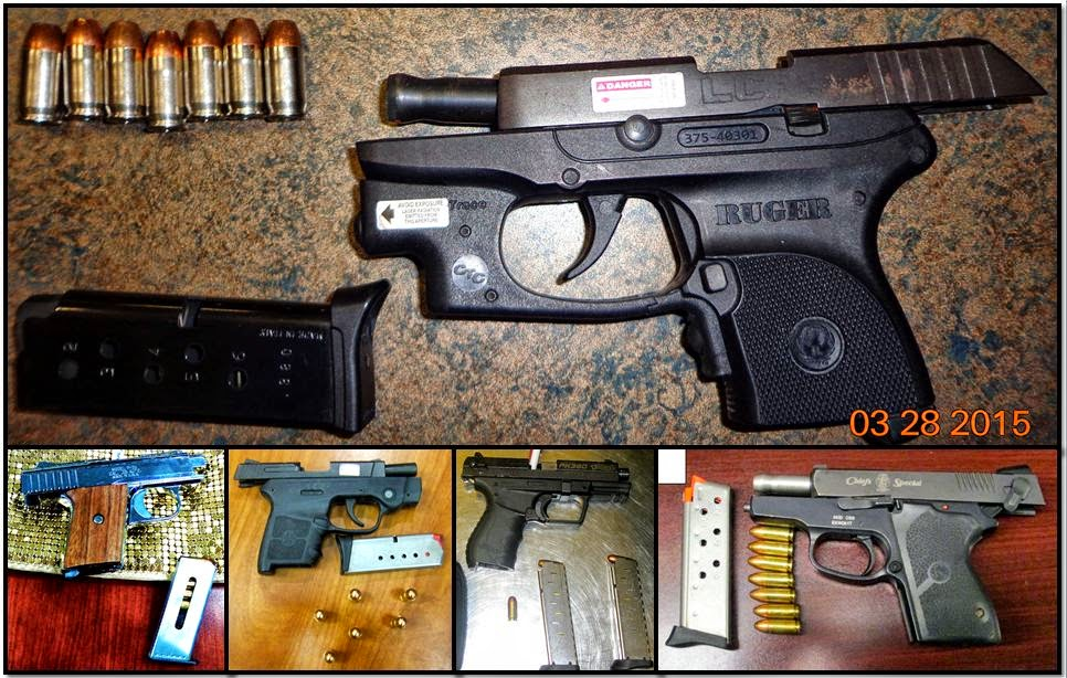 Clockwise from top, firearms discovered at: MEM, ORF, IND, ATL, and MKE
