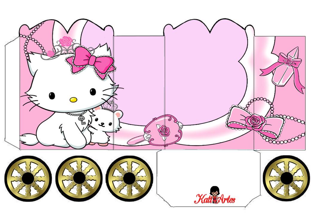Hello Kitty: Caja con forma de Carruaje para Imprimir Gratis.