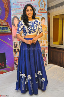 Regina Casandra in Stunning White Embroidery Crop Top Choli and Blue Ghagra at Santosham awards 2017 curtain raiser press meet 02.08.2017 048.JPG