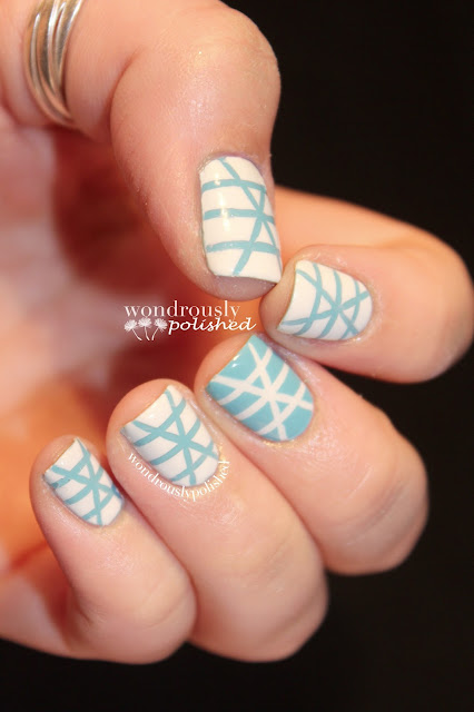 Wondrously Polished February Nail Art Challenge: Wondrously Polished: Can't Find My Czechbook Striping