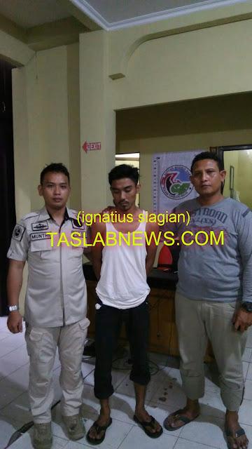 Tersangka Paisal Nasution (22) saat diamankan team Ops Antik Toba 2018 dari Satres Narkoba Polres Tanjungbalai, Kamis (30/8)