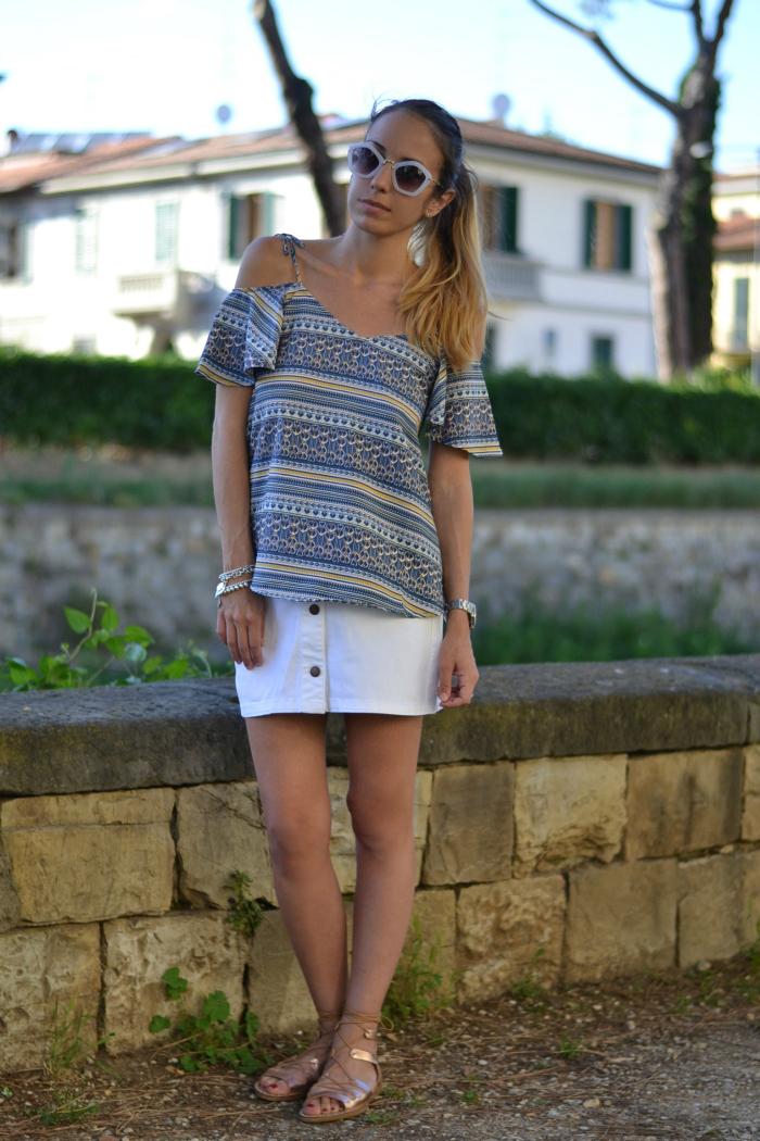 minigonna bianca outfit